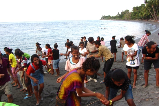 The Timorese youth played team games we organized for them on the black sand beach 10 minutes from the school.